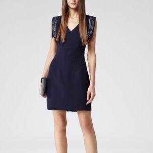 Reiss Sheath Dress 0 Blue Embellished Shoulder